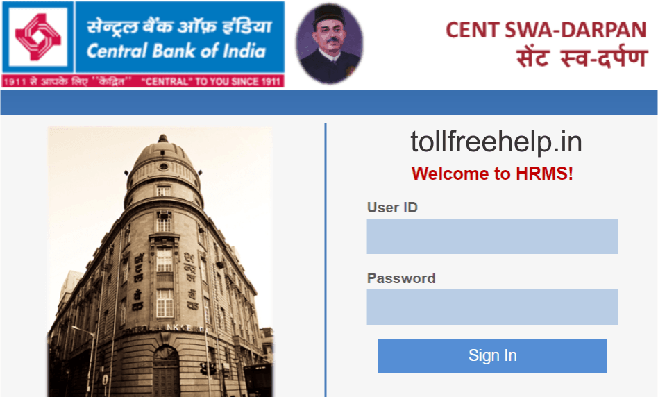 HRMS Login For Central Bank of India Staff