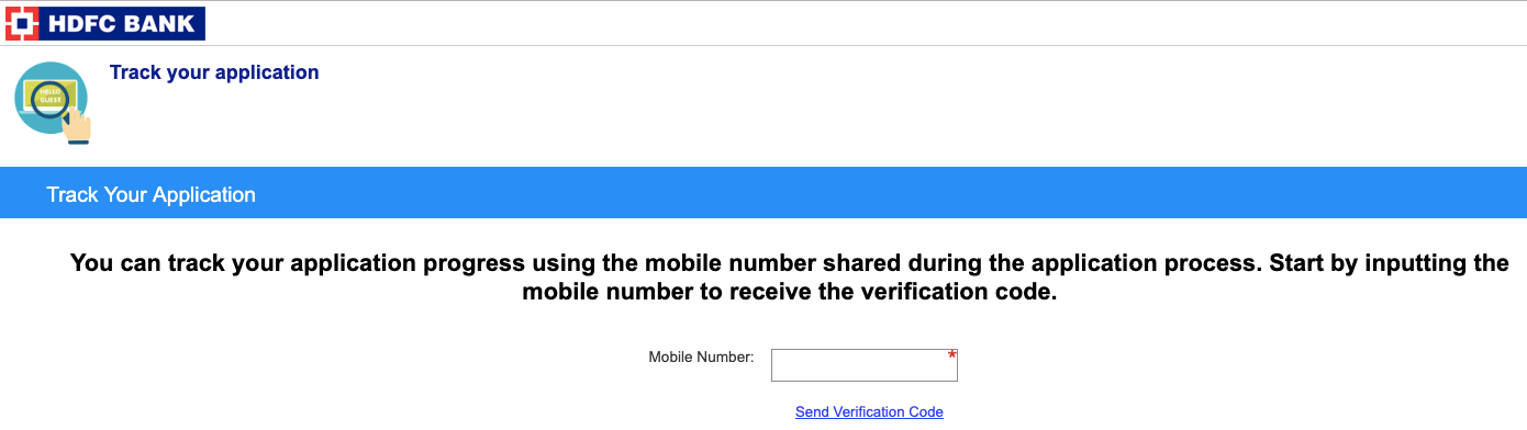hdfc credit card status by mobile number